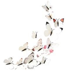Fluturi 3D cu magnet, decoratiuni casa sau evenimente, set 12 bucati, alb