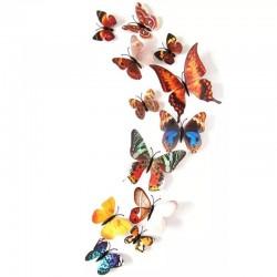Fluturi 3D cu magnet, decoratiuni casa sau evenimente, set 12 bucati, culori reale