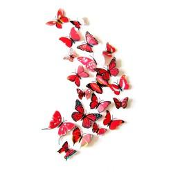 Fluturi 3D cu magnet, decoratiuni casa sau evenimente, set 12 bucati, rosu