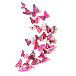 Fluturi 3D cu magnet, decoratiuni casa sau evenimente, set 12 bucati, rosu trandafiriu
