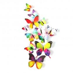 Fluturi 3D cu magnet, decoratiuni casa sau evenimente, set 12 bucati, colorati
