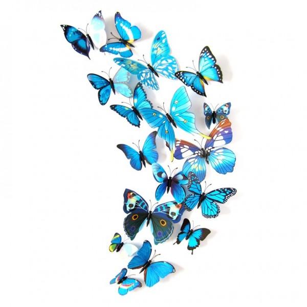 Fluturi 3D cu magnet, decoratiuni casa sau evenimente, set 12 bucati, albastru