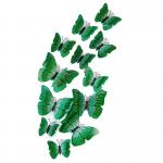 Fluturi 3D cu magnet, dubli, decoratiuni casa sau evenimente, set 12 bucati, verde, A25