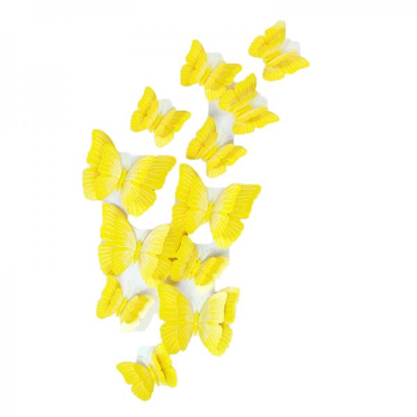 Fluturi 3D cu magnet, dubli, decoratiuni casa sau evenimente, set 12 bucati, galben, A31