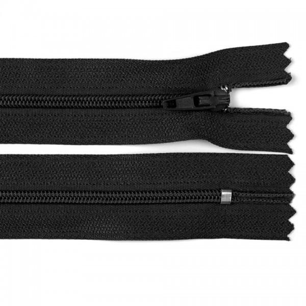 Fermoar spiralat nedetașabil cu atoblocare, lungime 10 cm, culoare negru