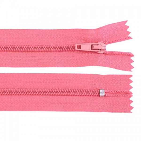 Fermoar spiralat nedetașabil cu atoblocare, lungime 10 cm, culoare roz