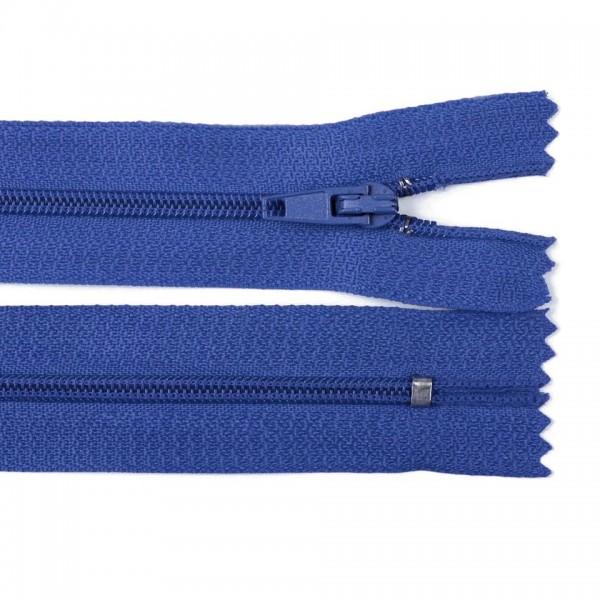 Fermoar spiralat nedetașabil cu atoblocare, lungime 10 cm, culoare albastru