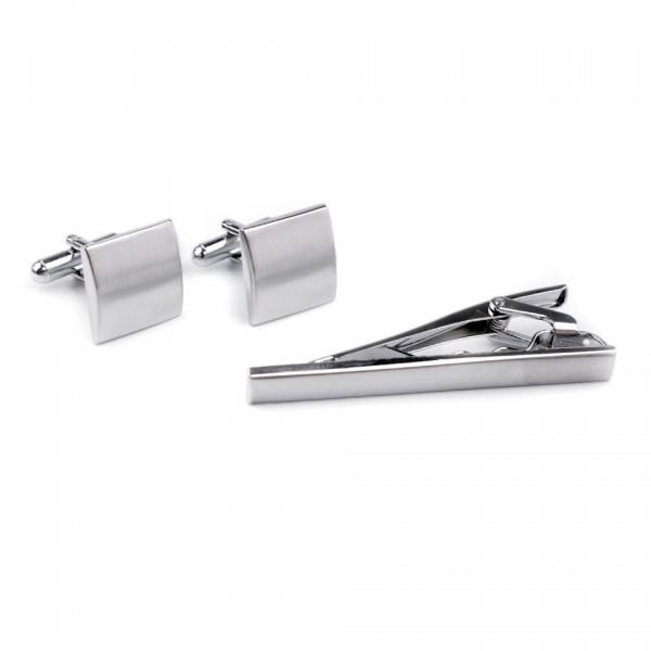 Butoni camasa si ac pentru cravata, culoare argintiu, model 750628