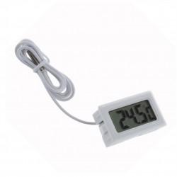 Termometru digital cu un senzor pe cablu, de culoare alb, lungime fir sonda 1 metru