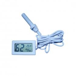Termometru si higrometru digital, cu un senzor cu cablu, de culoare alb, cu sonda