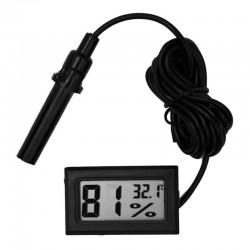 Termometru si higrometru digital, cu un senzor cu cablu, de culoare negru, cu sonda