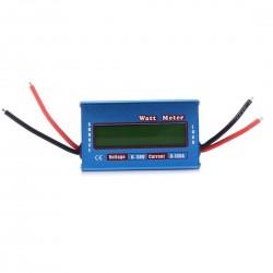 Voltmetru, Watt metru si ampermetru, multifunctional, multimetru digital, 4 - 60 V, 100 A, foarte precis, de culoare albastru